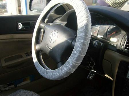 LDPE white disposable steering wheel cover with elastic ribbon 1