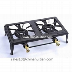double burner cast iron gas cooker