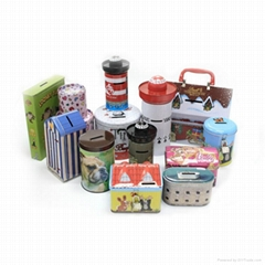 custom metal saving bank tin cans