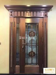 别墅入户门玻璃铜门