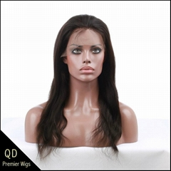 Indian remy hair natural straight full lace wigs