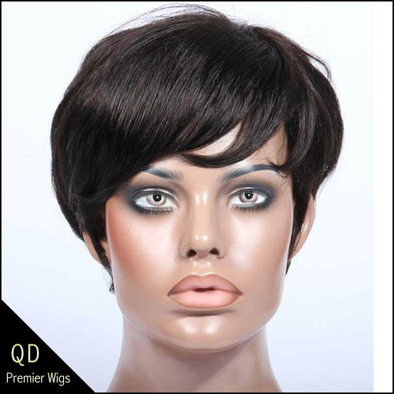 Rihanna Style Short Bob Indian Remy Hair Machine Made Wigs 3