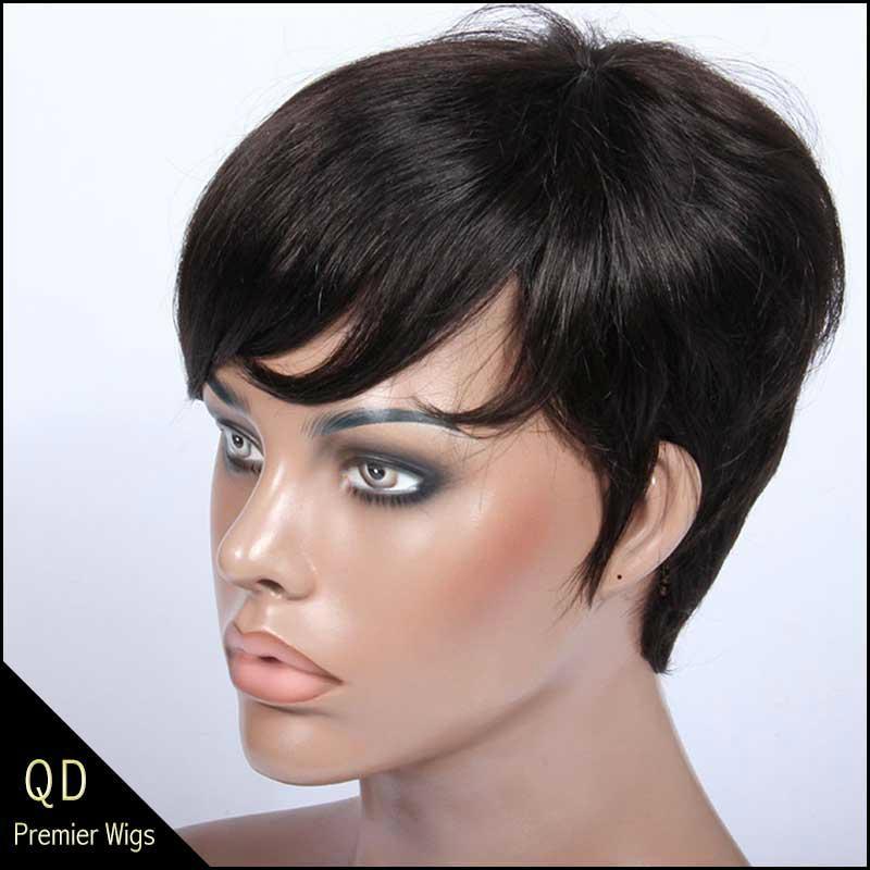 Rihanna Style Short Bob Indian Remy Hair Machine Made Wigs 4