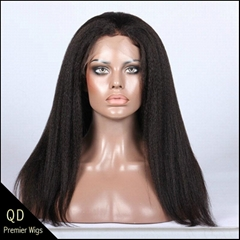 Brazilian virgin hair kinky straight lace front wigs