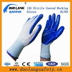 Blue Color 10g String Knit Liner Latex Coated Gloves