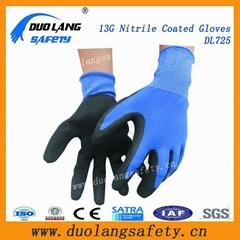 String Knit Liner Black Rubber Coated Glove