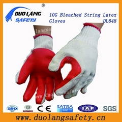 7 Guage String Knitted Latex Coated Working Gloves Mechanical Safety Gloves