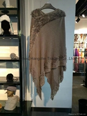 100% soft acrylic knitting shawl in solid color