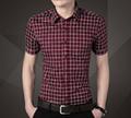2015 new fahion casual business summer style men shirt cutton short sleeve  3
