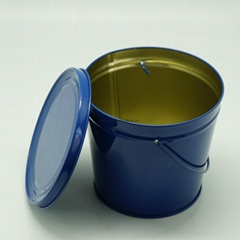 Bucket Tin Box With Lid & Handle