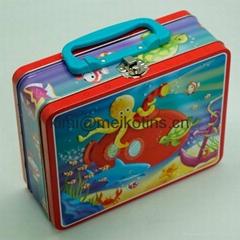 Handle Gift Tin Box with handle & lock