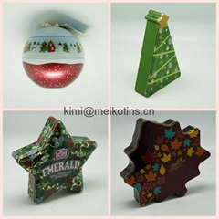 Christmas round,star,tree shape set gift tin box