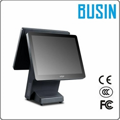 "BUSIN 15"" Dual Screen Capactive touch pos /with 80mm Thermal Receipt Printer"
