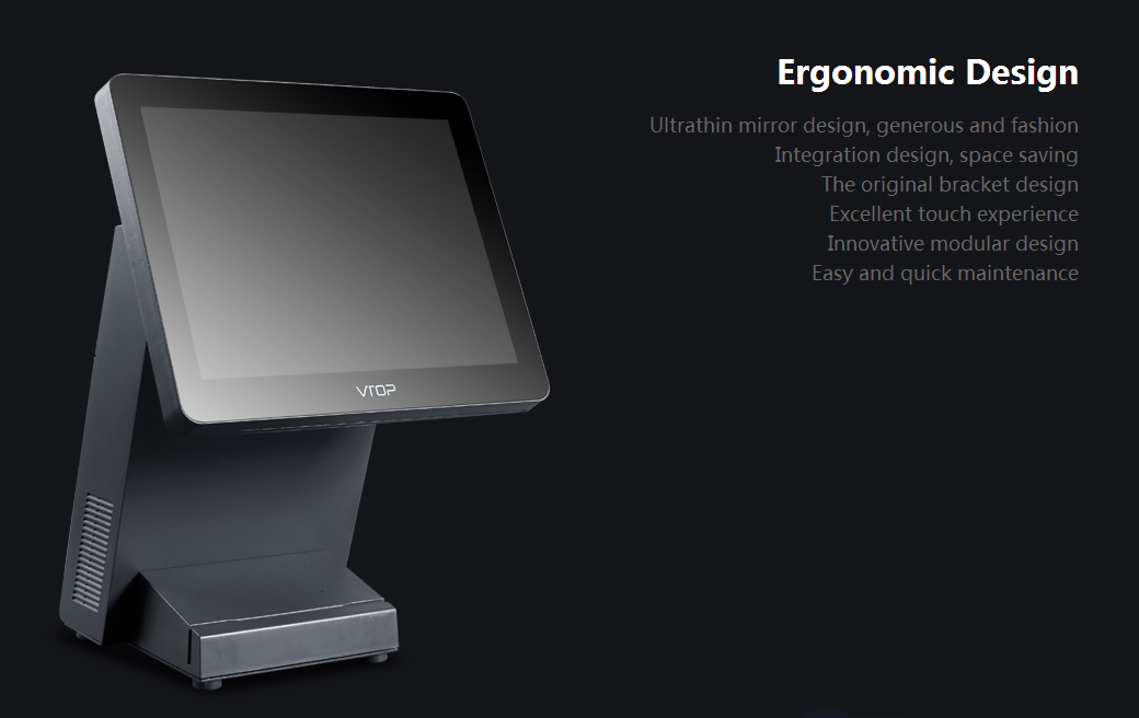 """12.1"""" 10-point Capacitive Touch Screen POS w/ VFD Customer Display & 80mm Printe 5"""