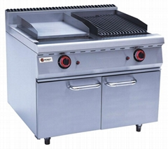 Gas Griddle & Lava Rock Grill With Cabinet