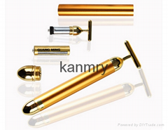 24K T-shape gold bars with high frequency vibration for skin lifting