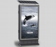 Outdoor solar powered advertising lightbox