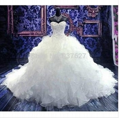 Hot Sale Chapel Train Ball Gown Wedding Dresses With Embroidery Sweetheart And O
