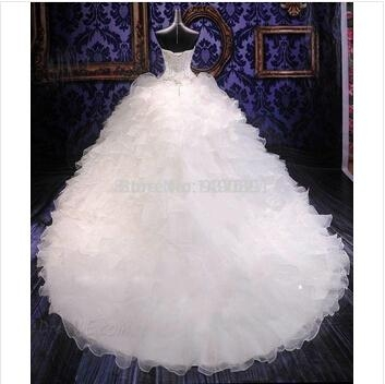 Hot Sale Chapel Train Ball Gown Wedding Dresses With Embroidery Sweetheart And O 2