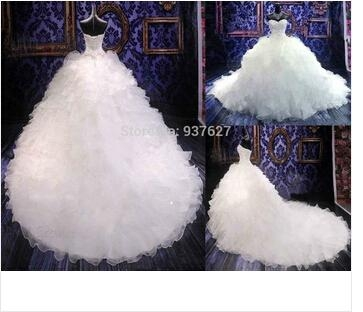 Hot Sale Chapel Train Ball Gown Wedding Dresses With Embroidery Sweetheart And O 4