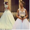 vestido de noiva casamento princesa 2015 Beautiful Sweetheart Appliqued Open Bac