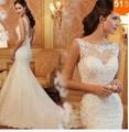 2015 Hot Sale Lace Mermaid Wedding Dress Sexy Bridal Gown Custom Size 2-4-6-8-10