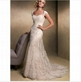 2015 New Style Ivory white Long Tulle Strapless Applique Mermaid Trumpet Bridal