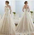 Vestido De Noiva 2015 New Fashionable Elegant High Neckline A Line Long Sleeve W