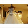 2015 Brazilian Style A Line Appliques and Diamond Floor Length Lace Wedding Dres