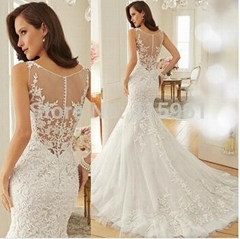 Dreamy Design 2015 Wedding Dresses Lace Mermaid Bridal Gowns Scoop Tank See Thro