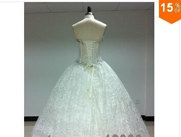 2015 Sexy Corset Beading Sweetheart Weddingl Gown Without Train vestidos de noiv 1
