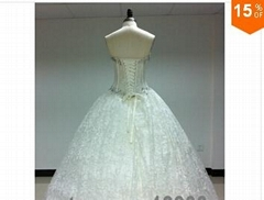 2015 Sexy Corset Beading Sweetheart Weddingl Gown Without Train vestidos de noiv