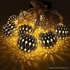 廠家直銷鐵藝圓球LED電池聖誕裝飾燈串彩燈