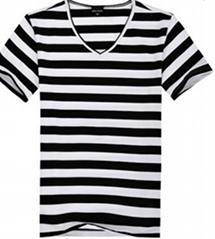 2015 men cotton short sleeve T-shirt black and white stripe