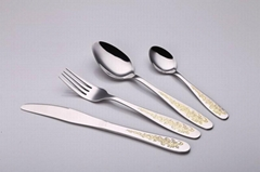 Stainless Steel Flatware Sets Gold Plated Cutlery Tableware Dinner Spoon & Fork
