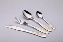 Stainless Steel Flatware Sets Gold Plated Cutlery Tableware Dinner Spoon & Fork