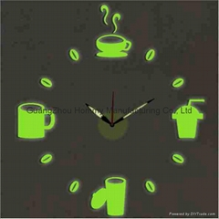 Coffee cup shaped DIY clock large wall clock grow in dark for home decor