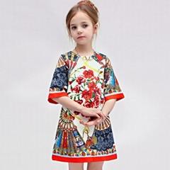 Wlmonsoon 2015 Autumn Childrens Clothing Kids Elegant Round Neck Dress Best Sale