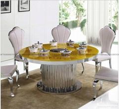 圓形鉗入式火鍋爐桌