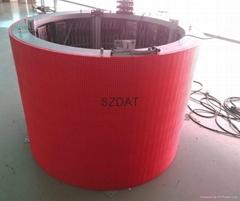 P10 cylinder full color led display indoor showing video