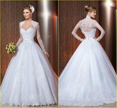 High Quality Custom Made Appliques Sweetheart  Organza Ball Gown Bridal Wedding