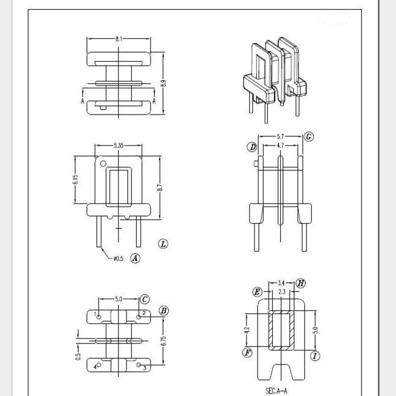 EE8.3 2+2 雙槽高頻變壓器 5
