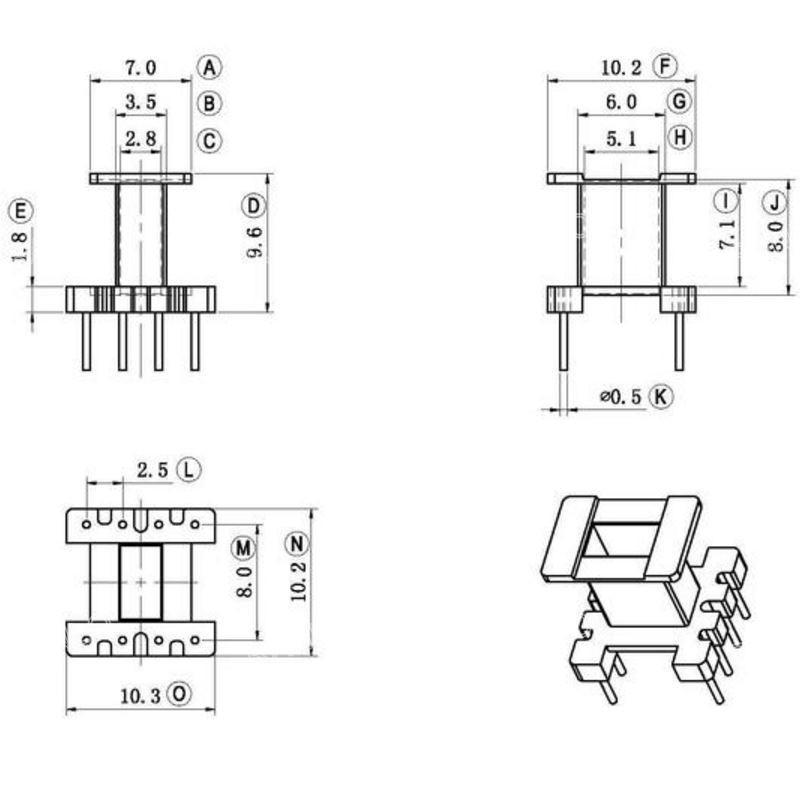 EE10 4+4 vertical power transformer