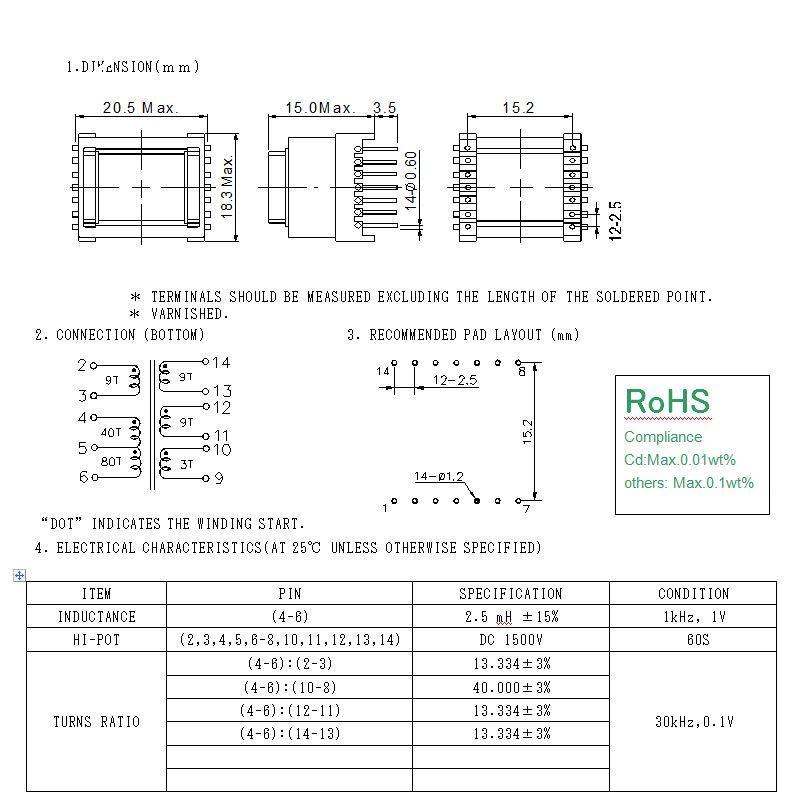 RANLO EE16 臥式 7+7 高頻變壓器 5