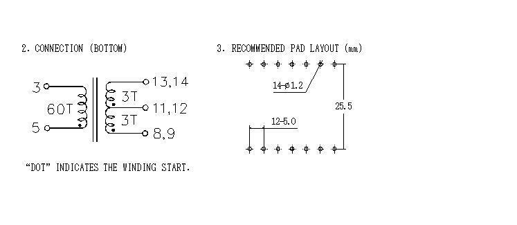 RANLO EE40 EI40 臥式 7+7 高頻開關電源變壓器 4