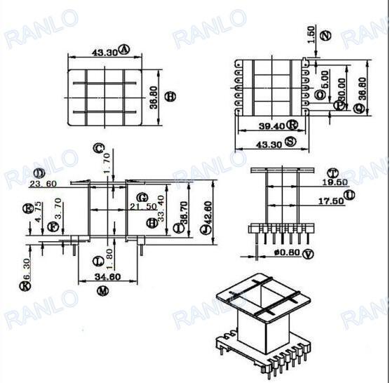 RANLO EE55 高频开关电源变压器打样定制 立式 7+7  6