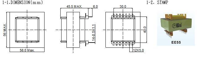 1500W  EE55 高頻開關電源變壓器 臥 7+7 1