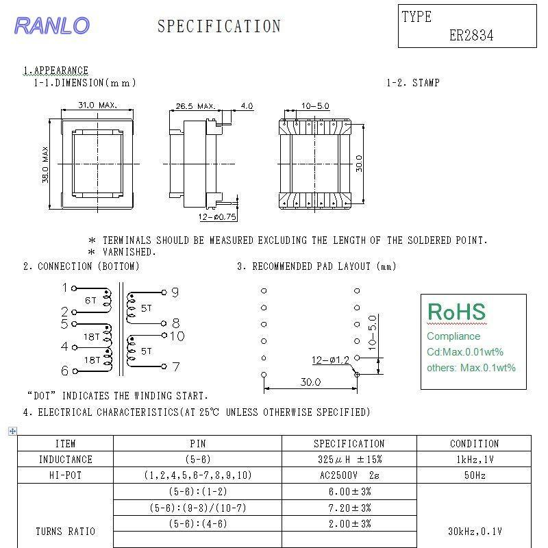 RANLO EC28  220V 轉12V 高頻開關電源變壓器 6