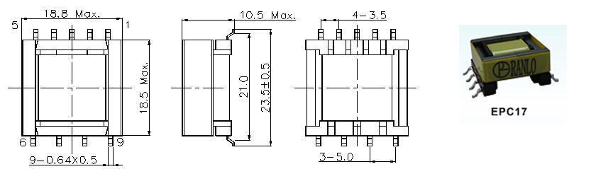 EPC17 4+5  脈衝變壓器開關電源變壓器高頻變壓器 2