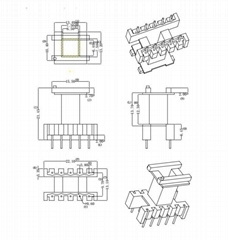 EF2017 vertical 5+5 Switching regulator HF transformer pulse transformer